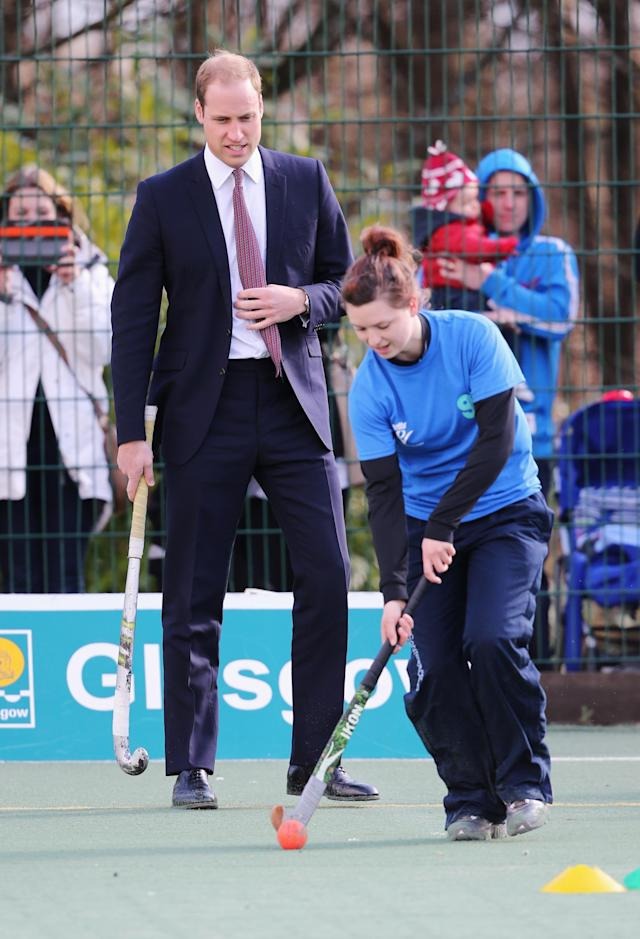 GLASGOW, UNITED KINGDOM - APRIL 04: Prince William, Earl of Strathearn participates in a hockey demonstration as he visits the Donald Dewar Leisure Centre to launch a new project for their foundation on April 4, 2013 in Glasgow, Scotland. The Royal Foundation of The Duke and Duchess of Cambridge and Prince Harry is partnering with Glasgow Sport and the Hunter Foundation on a new pilot as part of its national Coach Core initiative. (Photo by Chris Jackson/Getty Images)