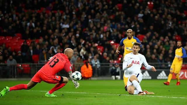 Fernando Llorente scored his first goal since joining from Swansea City as Tottenham eased past Cypriot champions APOEL.