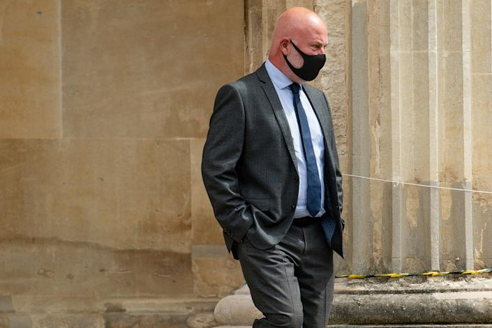West Mercia Police Constable Michael Darbyshire, 52, leaves Worcester Crown Court where after facing charges of rape and five counts of sexual assault, his force has said. The PC, who is based at Worcester Police Station, has been suspended from his role. (Photo by Jacob King/PA Images via Getty Images)