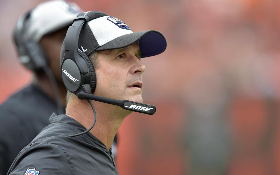 Baltimore Ravens head coach John Harbaugh is reportedly coaching for his future with the franchise. (AP)