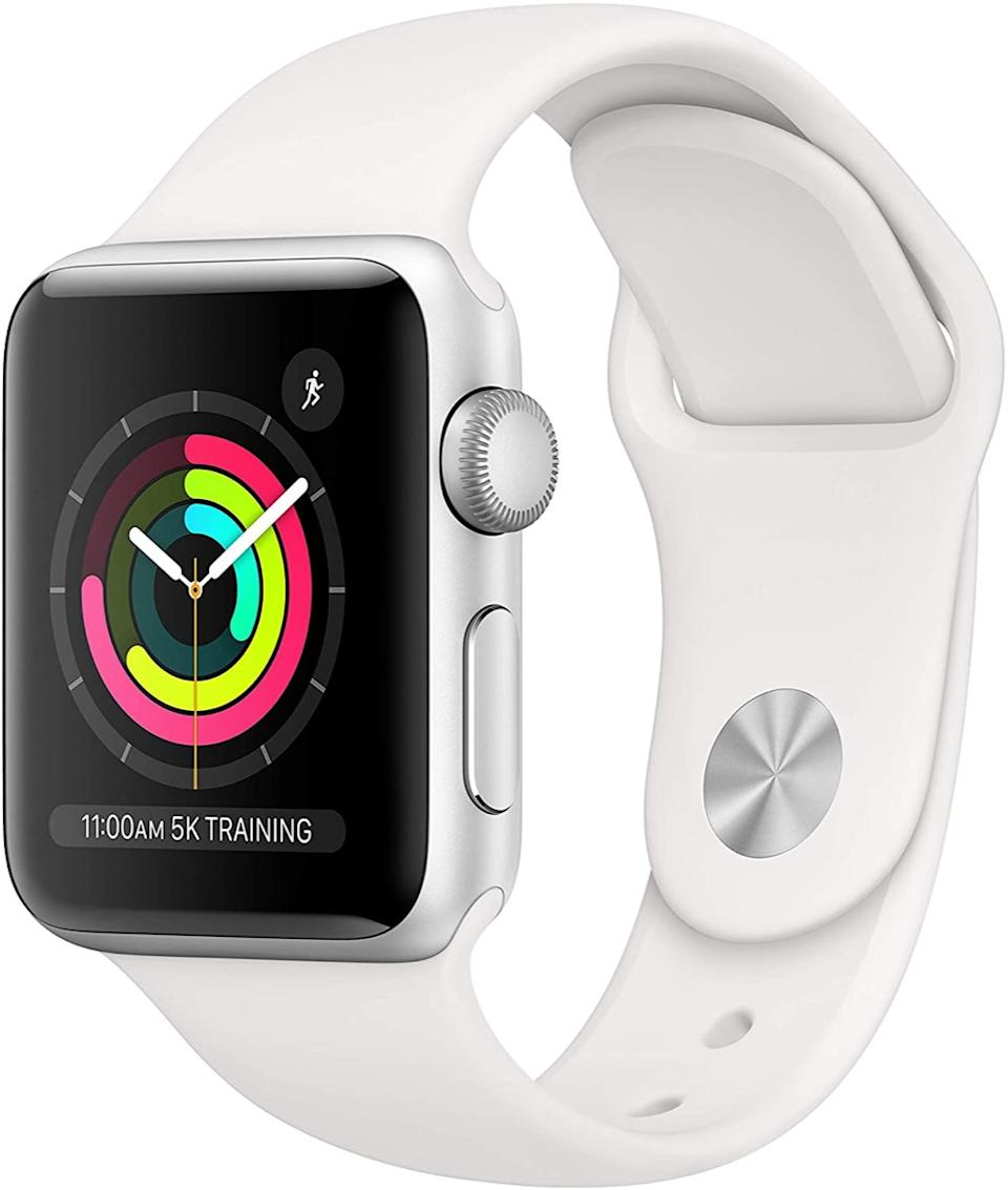 white and silver apple watch