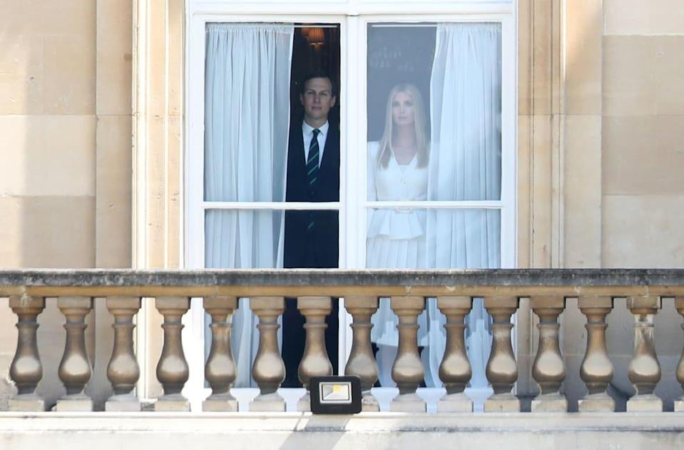 """<div class=""""inline-image__caption""""><p>Jared Kushner and Ivanka Trump look out of the window at Buckingham Palace during the visit of US President Donald Trump and First Lady Melania Trump on June 3, 2019 in London, England.</p></div> <div class=""""inline-image__credit"""">Chris Jackson/Getty Images</div>"""