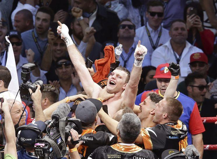 Jeff Horn celebrates his decision over Manny Pacquiao. (AP)