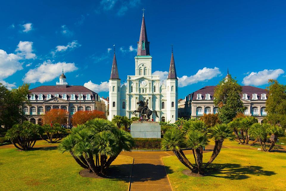 Saint Louis Cathedral and Jackson Square, elevated view, New Orleans