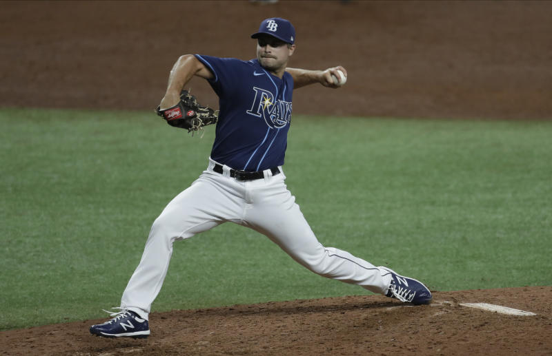 Tampa Bay Rays relief pitcher Jalen Beeks delivers to the Atlanta Braves during the sixth inning of a baseball game Monday, July 27, 2020, in St. Petersburg, Fla. (AP Photo/Chris O'Meara)
