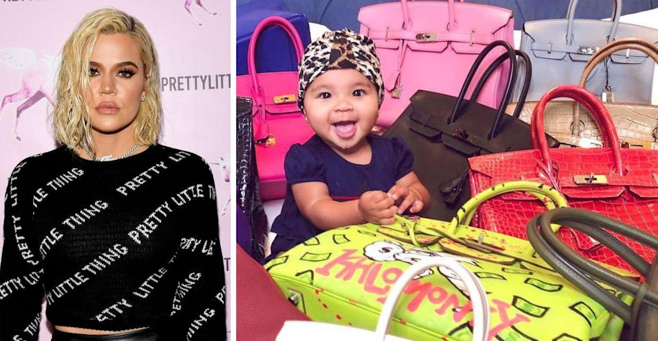 Khloe Kardashian has come under fire for sharing a picture of her daughter True sitting amongst her designer bags (Getty/ Instagram)