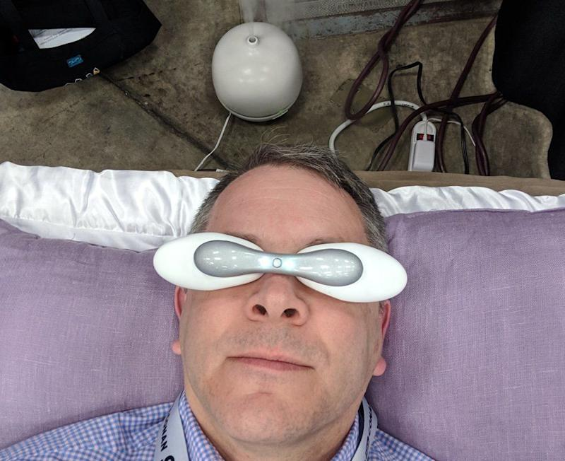 These goggles are meant to warm your eyelids to help you relax. (image: Rob Pegoraro)