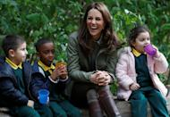 <p>Kate joined children at the Sayers Croft Forest School in London, as she returned from maternity leave in October (Getty) </p>