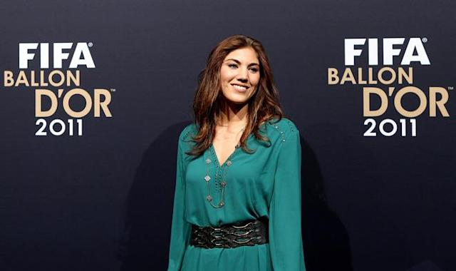 ZURICH, SWITZERLAND - JANUARY 09: Hope Solo of USA during the red carpet arrivals for the FIFA Ballon d'Or Gala 2011 on January 9, 2012 in Zurich, Switzerland. (Photo by Scott Heavey/Getty Images)