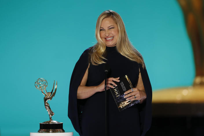 """Jennifer Coolidge presents at the 2021 Emmys.<span class=""""copyright"""">Cliff Lipson—CBS/Getty Images</span>"""