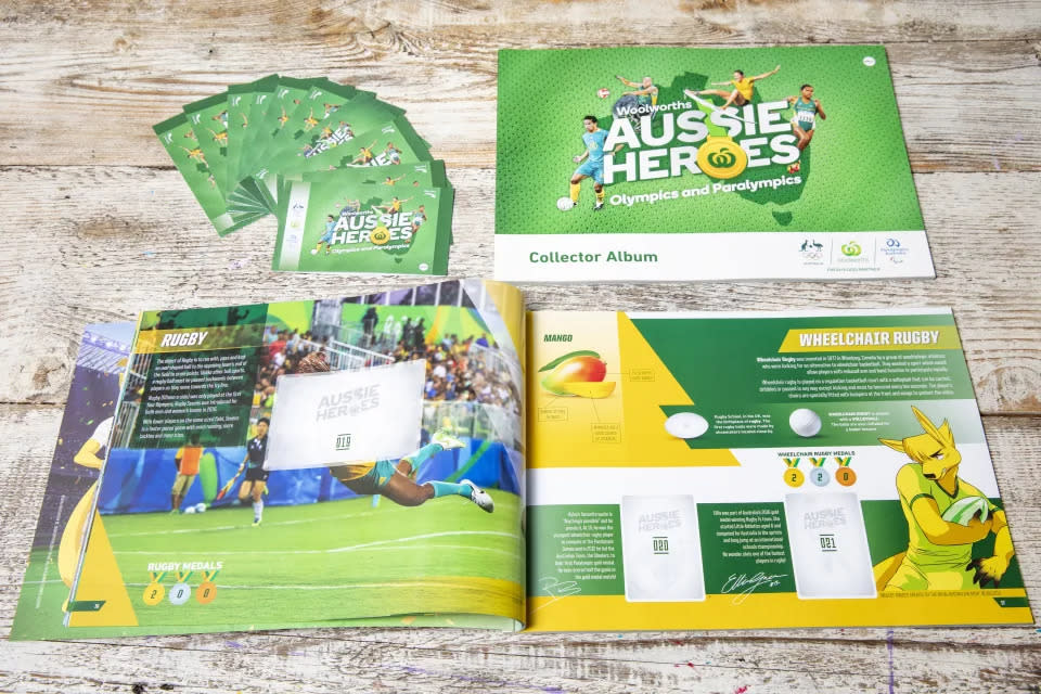 Aussie Heroes collectible cards and book. Dallas Kilponen/Woolworths