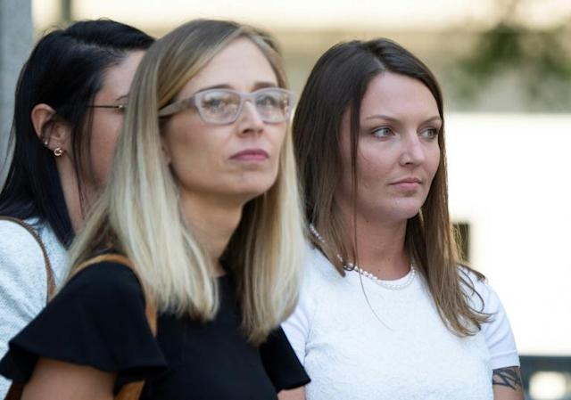 Annie Farmer (L) and Courtney Wild (R), who say they were sexually abused by Jeffrey Epstein, asked a New York judge not to grant the disgraced financier bail (AFP Photo/Johannes EISELE)