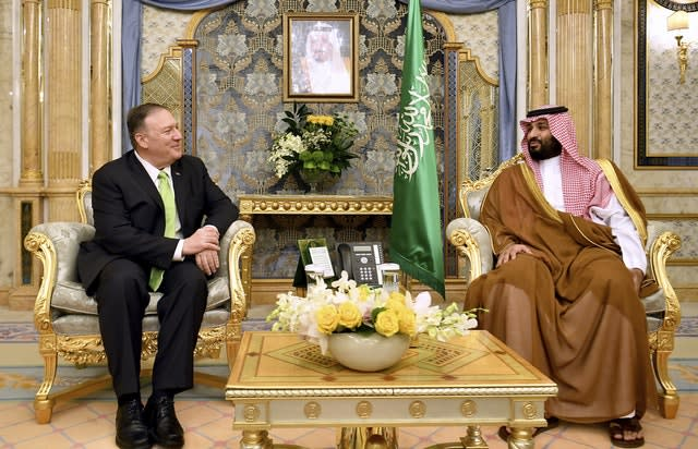 Mike Pompeo with Crown Prince Mohammed bin Salman in Jeddah