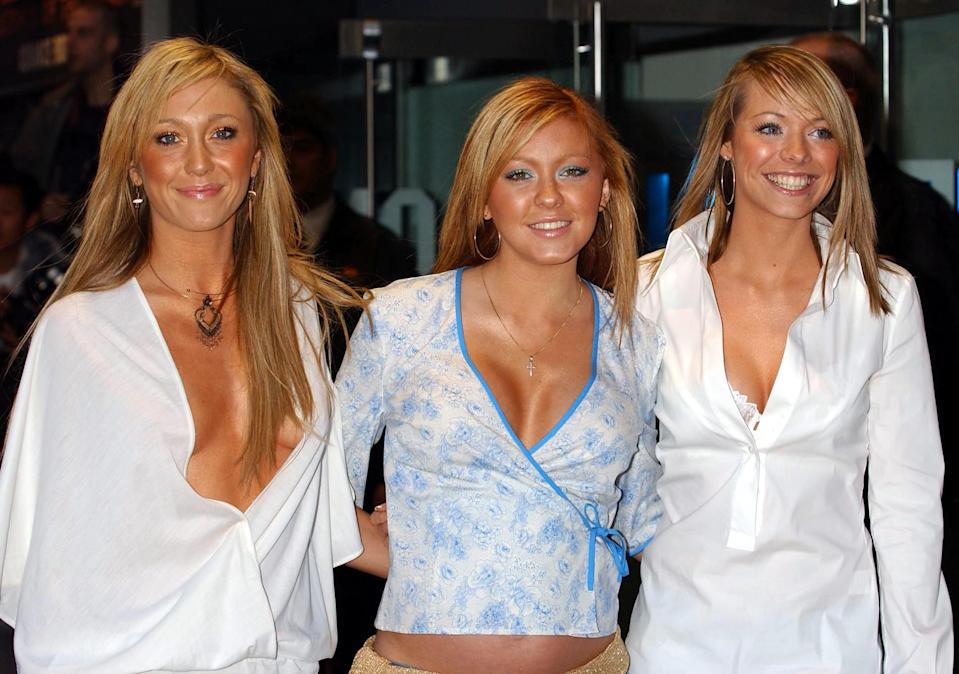 Atomic Kitten, from left to right; Jenny Frost, Natasha Hamilton and Liz McClarnon arrive for the charity premiere of Star Wars: Episode II - Attack of the Clones at The Odeon Leicester Square.   (Photo by Andy Butterton - PA Images/PA Images via Getty Images)