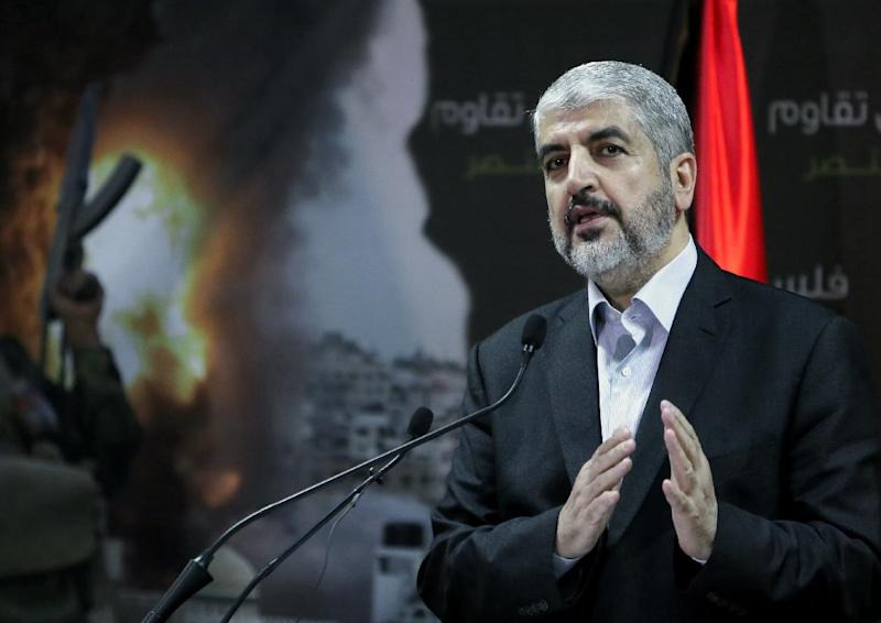Chief of the Islamist Hamas movement, Khaled Meshaal holds a press conference in the Qatari capital Doha on July 23, 2014