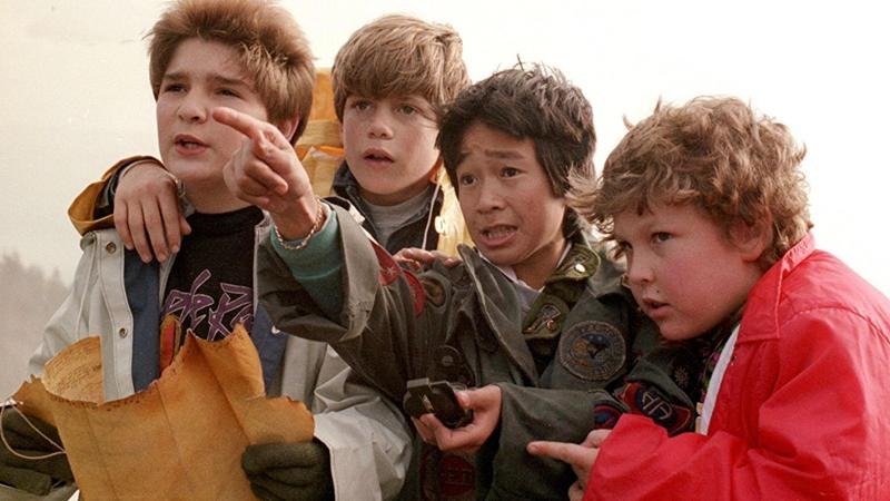 From left to right, Corey Feldman, Sean Astin, Ke Huy Quan and Jeff Cohen in a scene from the film 'Goonies', 1985. (Photo by Warner Brothers/Everett Collection)