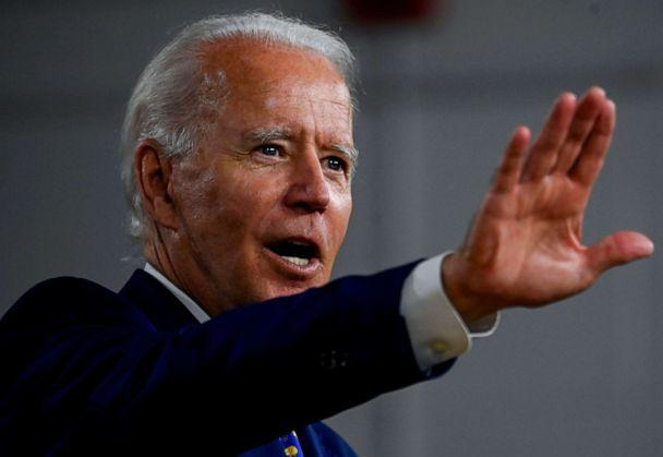 PHOTO: In this file photo taken on July 28, 2020 US Democratic presidential candidate and former Vice President Joe Biden speaks during a campaign event at the William 'Hicks' Anderson Community Center in Wilmington, Delaware. (Andrew Caballero-reynolds/AFP via Getty Images)