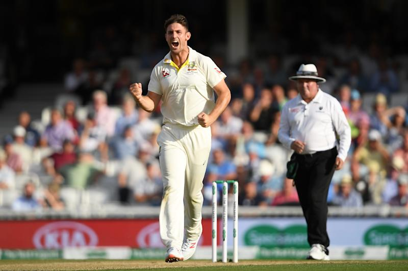LONDON, ENGLAND - SEPTEMBER 14: Mitchell Marsh of Australia celebrates taking the wicket of Jonny Bairstow during Day Three of the 5th Specsavers Ashes Test between England and Australia at The Kia Oval on September 14, 2019 in London, England. (Photo by Alex Davidson/Getty Images)