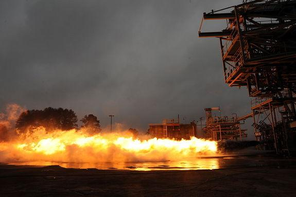 On Jan. 10, 2013, a Saturn V F-1 engine gas generator completed a 20-second hot-fire test at NASA's Marshall Space Flight Center in Huntsville, Ala.