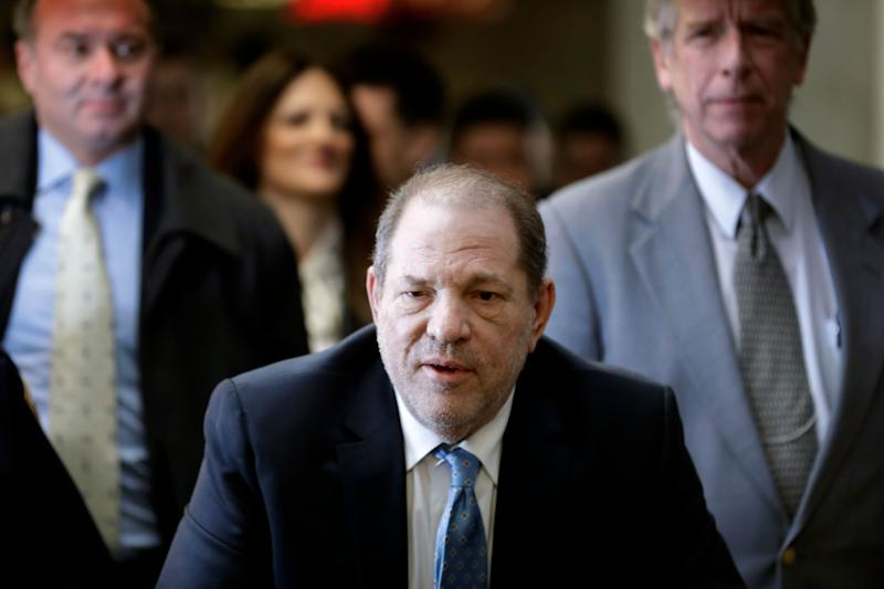 <strong>Harvey Weinstein arrives at a Manhattan courthouse as jury deliberations continue in his rape trial on Monday</strong> (Photo: ASSOCIATED PRESS)