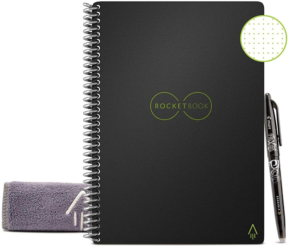 """<p><strong>Rocketbook</strong></p><p>walmart.com</p><p><strong>$31.99</strong></p><p><a href=""""https://go.redirectingat.com?id=74968X1596630&url=https%3A%2F%2Fwww.walmart.com%2Fip%2F676875407&sref=https%3A%2F%2Fwww.goodhousekeeping.com%2Fhome-products%2Fg37169158%2Fbest-smart-pen%2F"""" rel=""""nofollow noopener"""" target=""""_blank"""" data-ylk=""""slk:Shop Now"""" class=""""link rapid-noclick-resp"""">Shop Now</a></p><p>This affordable, reusable notebook <strong>works with any pen from Pilot Pen's Frixion line, which <a href=""""https://www.goodhousekeeping.com/home-products/a29268603/pilot-pen-frixion-colors-erasable-marker-pens/"""" rel=""""nofollow noopener"""" target=""""_blank"""" data-ylk=""""slk:earned the Good Housekeeping Seal"""" class=""""link rapid-noclick-resp"""">earned the Good Housekeeping Seal</a> after testing in our Media & Tech Lab.</strong> The pages are designed to feel like paper, but they're made from a polyester composite that bonds with the ink in seconds but wipes clean with a damp towel, so you can reuse your pages and notebooks. Write or draw by hand, then use the free Rocketbook App (available for iOS and Android) to scan the pages for email or text message or to send to cloud services like Google Drive, Dropbox, Evernote, box, OneNote, Slack or iCloud. The app can transcribe the notes to typewritten text, and it creates searchable versions of your handwriting. The notebooks are available in letter and executive size as well as with grid or lined pages. The pen and notebook come with a microfiber cloth for wiping the screen clean. </p>"""