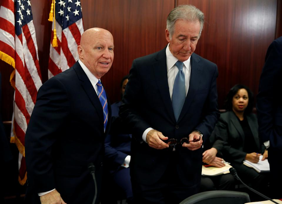 """Chairman of the House Ways and Means Kevin Brady (R-TX) and Rep. Richard Neal (D-MA) stand before the House-Senate Conferees hold an open conference meeting on the """"Tax Cuts and Jobs Act"""" on Capitol Hill in Washington, U.S., December 13, 2017.   REUTERS/Joshua Roberts"""