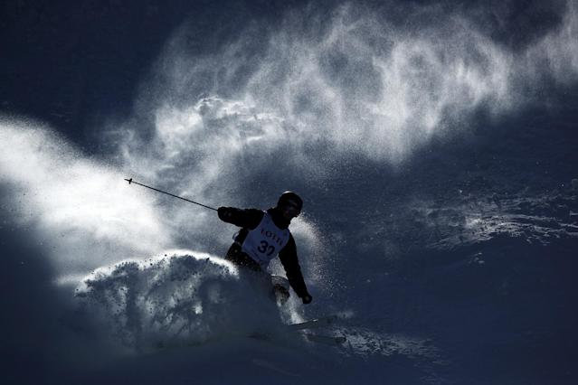 <p>Rohan Chapman-Davies of Australia skis during a FIS Freestyle Ski World Cup 2016/17 Mens Moguls training session </p>