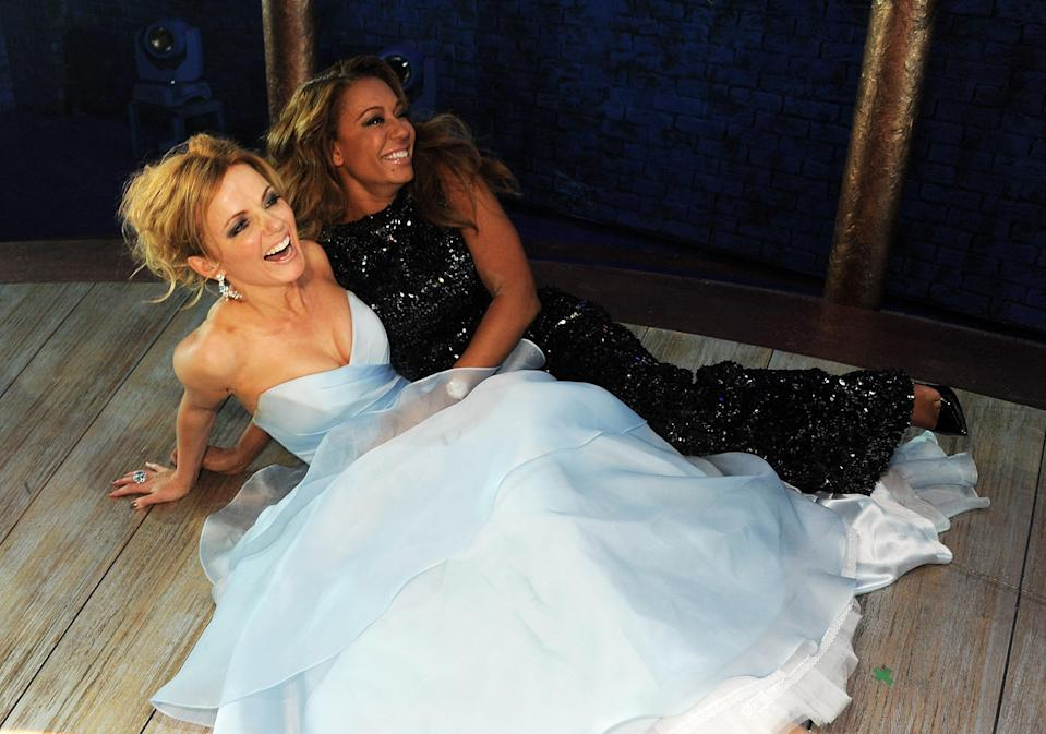 Geri and Mel B pose backstage at the Gala Press Night performance of 'Viva Forever' at the Piccadilly Theatre on December 11, 2012 in London, England. (Photo by Dave M. Benett/Getty Images)