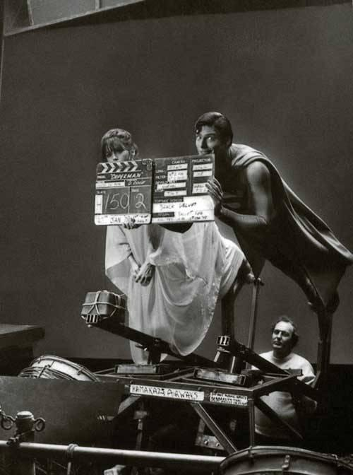 <p>Margot Kidder and Christopher Reeves on set.</p>