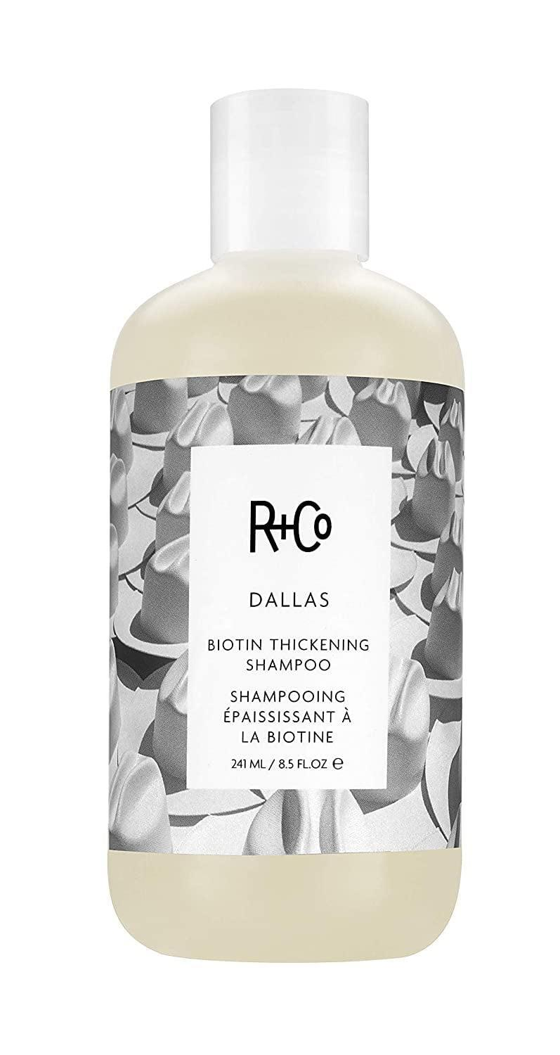 <p>The <span>R+Co Dallas Biotin Thickening Shampoo</span> ($29) uses a blend of biotin, vitamin B5, and coconut oil nourish fine hair root to end and make flat hair appear more voluminous.</p>