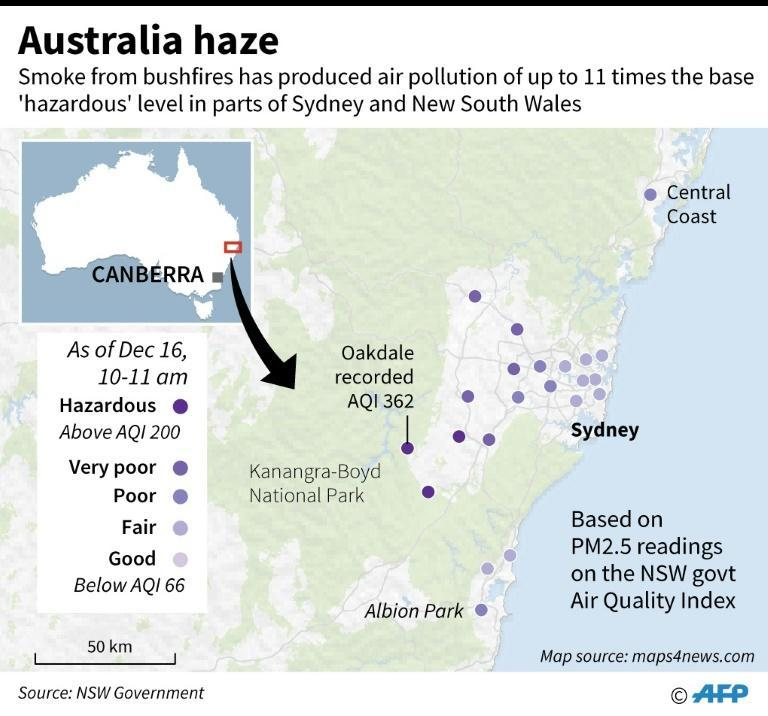 Map of New South Wales in Australia showing the Air Quality Index readings in areas near Sydney that recorded hazardous levels of air pollution on Monday