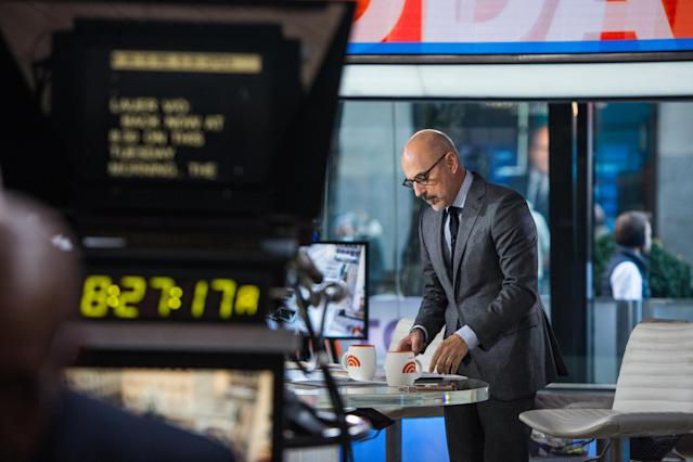 Matt Lauer on the set of the <em>Today</em> show. (Photo: Nathan Congleton/NBC/NBCU Photo Bank)