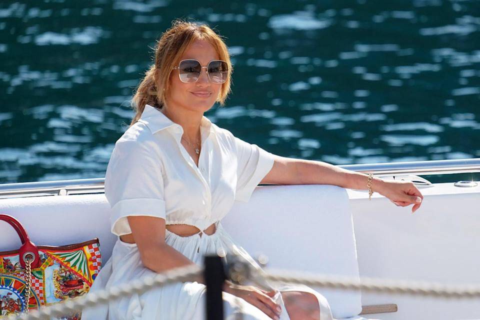 <p>Jennifer Lopez vacations in Portofino with friends during her cruise in the Mediterranean on July 31.</p>