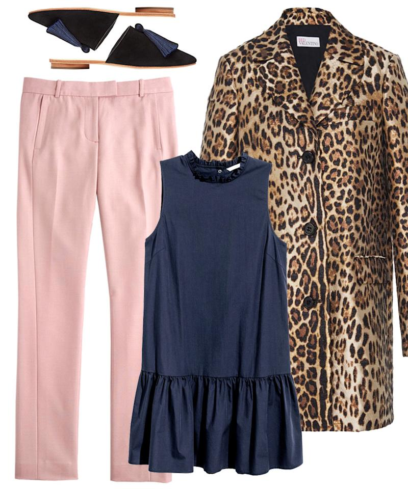 """<p>Take a walk on the wild side in a leopard coat. Pair it with cheerful colored pants and a tunic for the ultimate layering effect. Fun tip: The tunic can be worn as a dress in the summer--a two-for-one! </p>  <p><strong>Shop the look: </strong>J. Crew trousers, $50 (originally $128); <a rel=""""nofollow"""" href=""""http://click.linksynergy.com/fs-bin/click?id=93xLBvPhAeE&subid=0&offerid=466652.1&type=10&tmpid=3380&RD_PARM1=https%3A%2F%2Fwww.jcrew.com%2Fp%2FB0783%3Fcolor_name%3DMAUVE%2526styles%3DB0783-PR0025&u1=ISFASHIONWEIRDWEATHEROUTFITSBED"""">jcrew.com</a>.<strong> </strong>H&M dress, $25; <a rel=""""nofollow"""" href=""""http://www.hm.com/us/product/61790?article=61790-A#article=61790-B"""">hm.com</a>. Loeffler Randall slides, $295; <a rel=""""nofollow"""" href=""""http://click.linksynergy.com/fs-bin/click?id=93xLBvPhAeE&subid=0&offerid=424705.1&type=10&tmpid=8318&RD_PARM1=http%3A%2F%2Fwww.loefflerrandall.com%2Fwinnie-black.html&u1=ISFASHIONWEIRDWEATHEROUTFITSBED"""">loefflerrandall.com</a>. Red Valentino coat, $1,195; <a rel=""""nofollow"""" href=""""http://click.linksynergy.com/fs-bin/click?id=93xLBvPhAeE&subid=0&offerid=313720.1&type=10&tmpid=9895&RD_PARM1=https%3A%2F%2Fwww.modaoperandi.com%2Fred-valentino-r17%2Fleopard-printed-coat&u1=ISFASHIONWEIRDWEATHEROUTFITSBED"""">modaoperandi.com</a>.</p>"""