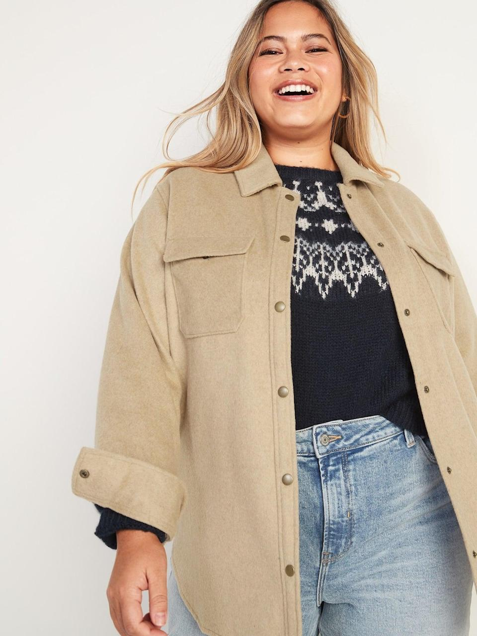 <p>A classic piece like this <span>Old Navy Soft-Brushed Utility Curve Shirt Jacket</span> ($53) will never go out of style.</p>