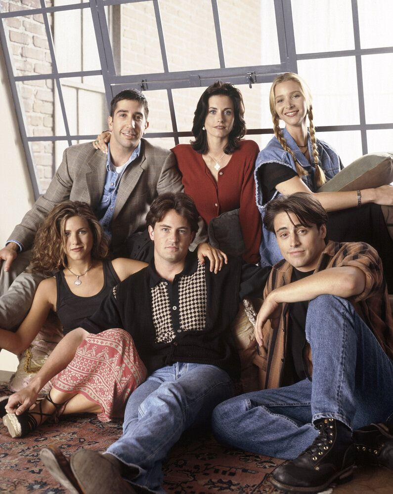 FRIENDS -- Pictured: (clockwise from bottom left) Jennifer Aniston as Rachel Green, David Schwimmer as Ross Geller, Courteney Cox Arquette as Monica Geller, Lisa Kudrow as Phoebe Buffay, Matt LeBlanc as Joey Tribbiani, Matthew Perry as Chandler Bing  (Photo by NBC/NBCU Photo Bank via Getty Images)