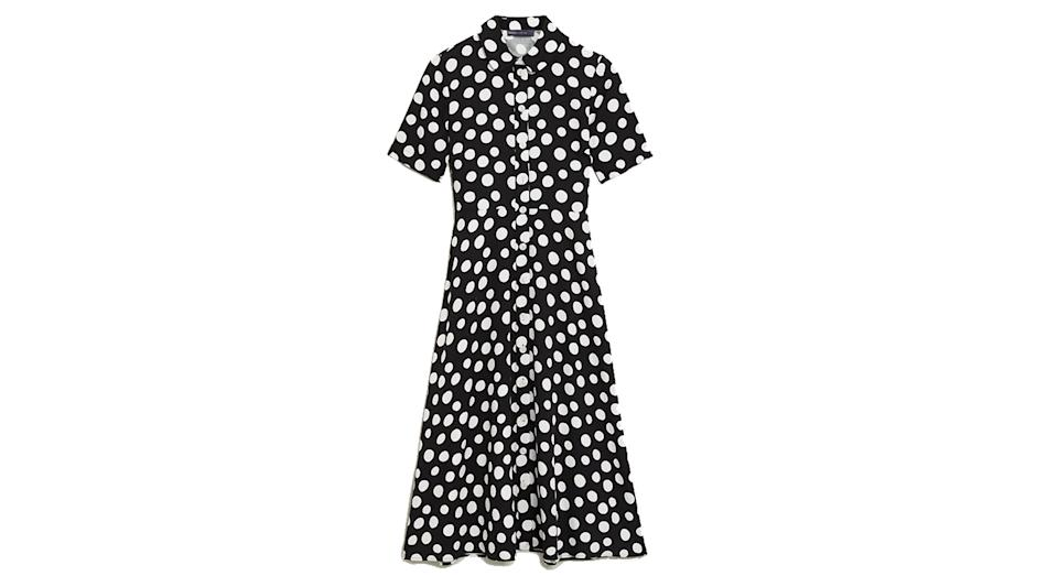 Polka Dot Midi Shirt Dress
