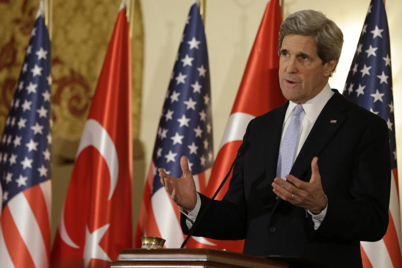 U.S. Secretary of State John Kerry speaks during a news conference with Turkish Foreign Minister Ahmet Davutoglu, not pictured, at Ankara Palace in Ankara, Turkey, on Friday, March 1, 2013. Ankara is the fifth leg of Kerry's first official overseas trip, a nine-day dash through Europe and the Middle East. (AP Photo/Jacquelyn Martin, Pool)