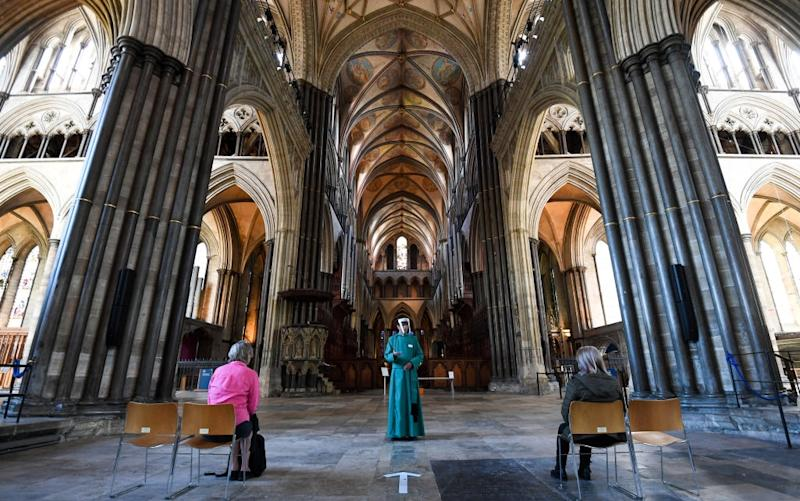 A post-Covid service in Salisbury Cathedral - getty