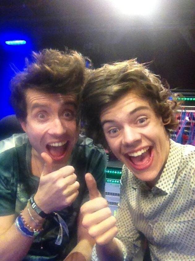 Backstage at the BRITs: Nick Grimshaw and Harry Styles spent the entire night partying away, with Harry Styles staying over at Nick's house and going into work with him the next morning. They laughed their way through the Radio 1 Breakfast Show. Copyright [Nick Grimshaw]