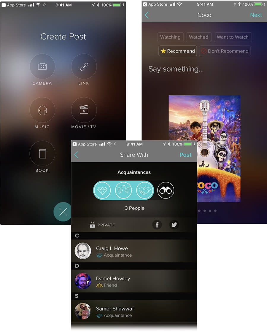 Your Vero posts can include more than photos (top), and you can specify which social circle gets to see them (bottom).