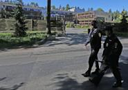 <p>Police on patrol outside the hotel. </p>