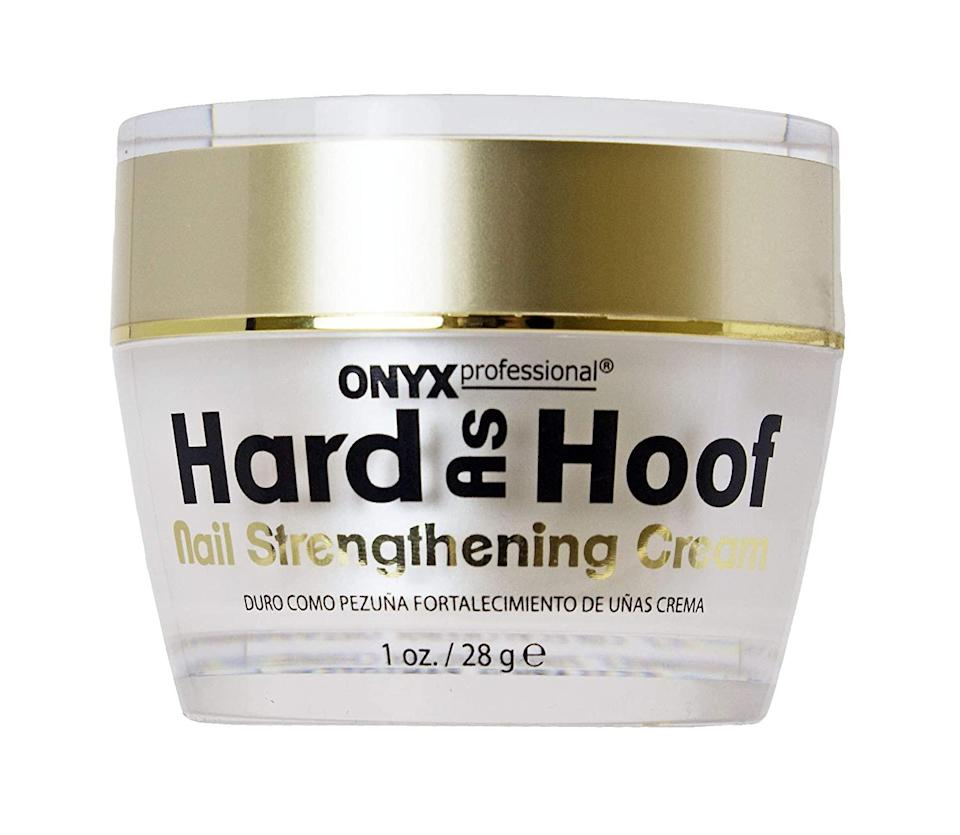 "<h2>21% Off Onyx Hard As Hoof Nail Strengthening Cream</h2><br>Hard As Hoof has made just about every list of top-shopped, reader-approved, and editor-favorited materials due to its tried and true nail-strengthening benefits and affordable price point — it's been purchased by over 2,000 R29 readers alone this year and has amounted over 21,000 mostly positive reviews on Amazon. Plus, our Beauty Editor Karina Hoshikawa is a lifelong stan: ""While the fancier stuff is perfectly nice, Hard As Hoof is a third of the price — and even if it weren't, I'd still like it <em>even more</em>. It has a semi-solid buttery texture that you need to emulsify with the heat from your fingers, so I like to scoop out a tiny amount and melt it as I rub it into my nails and cuticles. A few weeks in, and I already feel like a regular application of this stuff has really made a difference in the look and feel of my nails.""<br><br><br><strong>Onyx Professional</strong> Hard As Hoof Nail Strengthening Cream, $, available at <a href=""https://amzn.to/3k56Zpd"" rel=""nofollow noopener"" target=""_blank"" data-ylk=""slk:Amazon"" class=""link rapid-noclick-resp"">Amazon</a>"