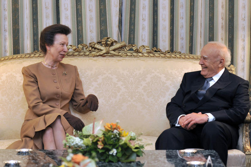 Britain's Princess Anne talks with Greek President Karolos Papoulias during a meeting in Athens, on Thursday, May 17, 2012. Princess Anne is in the UK delegation that will receive the London 2012 Olympic flame at the all-marble Panathenian stadium, where the first modern Olympics were held in 1896.(AP Photo/Louisa Gouliamaki,Pool)