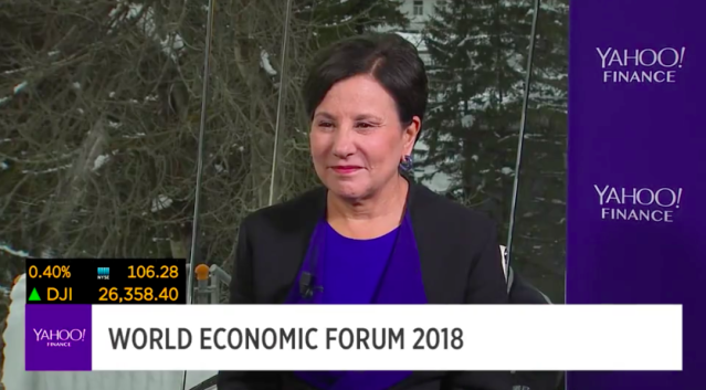 Former U.S. Commerce Secretary Penny Pritzker speaks with Yahoo Finance's Andy Serwer and Jen Rogers at the World Economic Forum in Davos, Switzerland.
