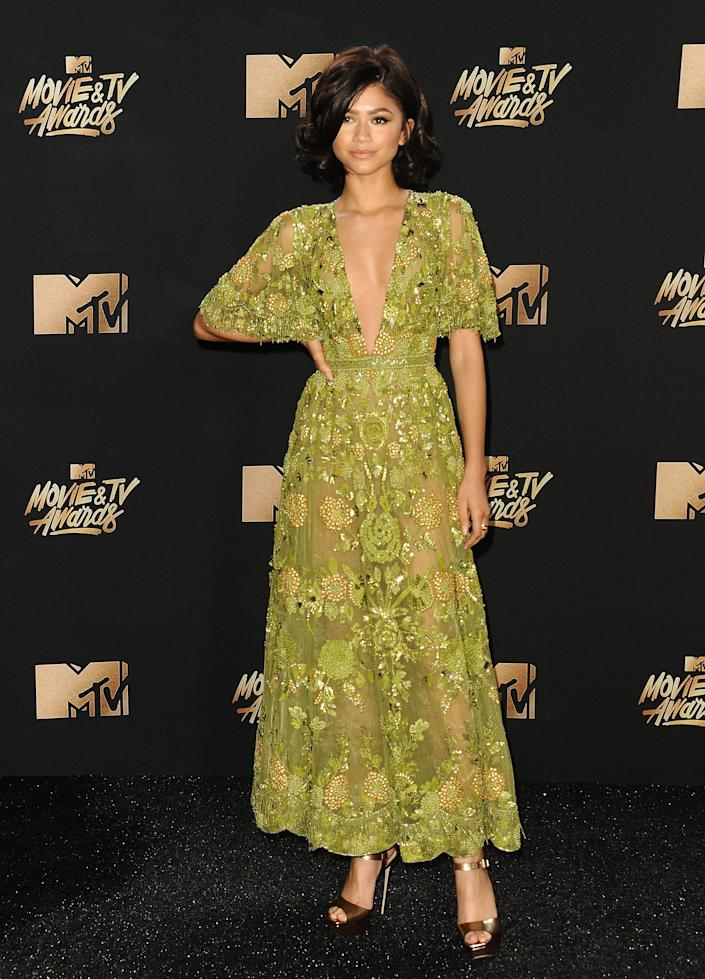 Zendaya poses in the press room at the 2017 MTV Movie and TV Awards at The Shrine Auditorium on May 7, 2017 in Los Angeles, California.