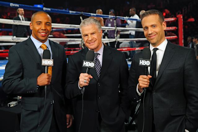 HBO is out of the boxing business, but once featured the stellar crew of Andre Ward (L), Jim Lampley (C) and Max Kellerman. (Photo courtesy HBO)