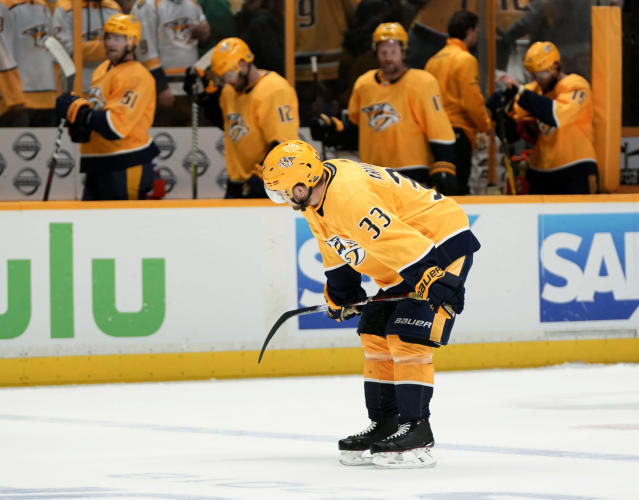 Nashville Predators left wing Viktor Arvidsson glides back toward his bench after the Colorado Avalanche came from behind to win 2-1 in the closing minutes of Game 5 of an NHL hockey first-round playoff series Friday, April 20, 2018, in Nashville, Tenn. (AP Photo/Sanford Myers)