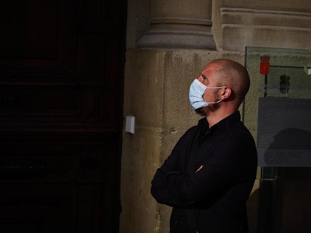A man wears a mask in Pamplona, Spain. (Getty Images)