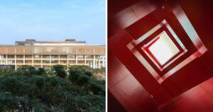 The photo collage shows the main branch of Tainan Public Library (left) and a red spiral staircase. (Courtesy of Main branch of Tainan Public Library)